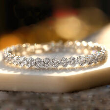 Wedding Jewelry Gift Natural White Fire Topaz Gems Solid Silver Chaming Bracelet