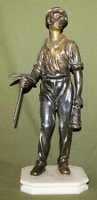 Vintage hand made metal miner statuette with marble base