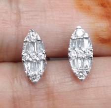 DEAL!0.40CTW NATURAL ROUND BAGUETTES DIAMOND CLUSTER STUD EARRINGS IN 14K GOLD