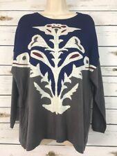 CHARLOTTE TARANTOLA Size Large Floral Boxy Soft Sweater Blue Gray