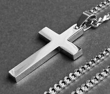 Halskette Kreuz Anhänger Edelstahl Kreuzkette Silber Herren Schmuck