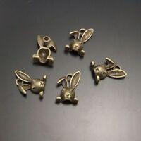 15pcs Antique Bronze Tiny Rabbit Head Shaped Alloy Pendants Charms Crafts 02234