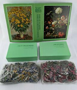 Springbok Bookcase Puzzle - Monet Vase of Flowers Chrysanthemums - Vintage 1971