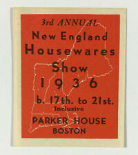 Poster Stamp Cinderella New England Housewares Show 1936 Boston MA Parker House