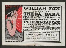 1915 THEDDA BARA ORIGINAL THE CLEMENCEAU CASE HERALD