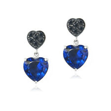 Double Heart Dangle Earrings Blue & Black Cz