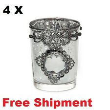 Glass Candle Tealight Holder with Gem Silver