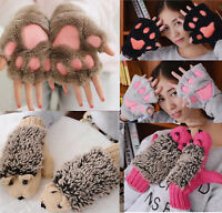Womens Animal Gloves Fluffy Knitted Fingerless Hand Warmer Mittens Winter Warm