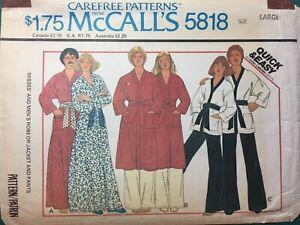 VTG 1970s Bathrobe ROBE Pattern MENS WOMENS UNISEX McCalls #5818 Large Ch 40-42