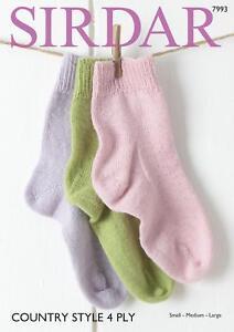 Sirdar 7993 Knitting Pattern Family Socks in Sirdar Country Style 4 Ply