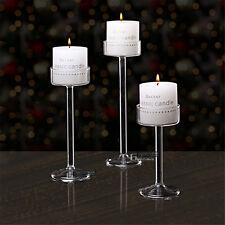 3PCS/Set Elegant Long Stem Glass Candle Holders Tea Light  Candlestick Wedding