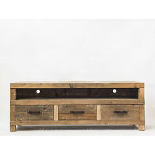 NEW Rustic Recycled Elm Timber 3 Drawer Entertainment Unit Natural Colour
