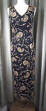 Monsoon 100% Silk Black Gold Embroidered Beaded Long Dress UK10