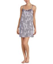 DKNY Womens Walk The Line Satin Racerback Chemise Nightgown Grey Floral, Medium