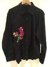 Paul Smith Vintage Men's Black Embroidered Shirt UK XL