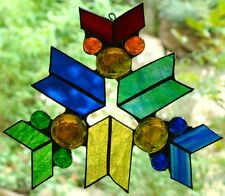 MULTI COLOUR SNOWFLAKE stained glass HAND MADE SUNCATCHER RED BLUE GREEN YELLOW