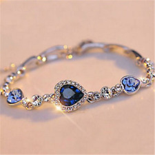 Fine Fashion Women Blue Crystal Rhinestone Heart Charm Bangle Bracelet Gift