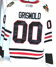 CCM Christmas Vacation Clark Griswold 00 Black Hawks White Hockey Jersey54 2X