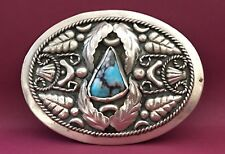 VTG Native American Navajo Style Alpaca LEAF STEMS & CHUNK TURQUOISE Belt Buckle
