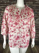 Laura Scott Womans  Blouse Top Shirt Sz 3x Buttons 3/4 Sleeve Pink White