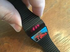 Vtg 1980's Texas Instruments TI Red LED Race Car Men Watch New Batteries Working