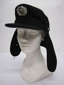 Vtg c1970s East German NVA National Peoples Army NVA-1855-S Wool Hat Ear Flaps