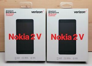 Lot Of 2 Nokia 2V 8GB Verizon Wireless Prepaid Blue Silver Smartphone New Sealed
