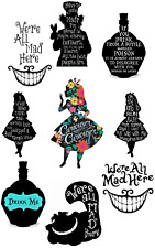 ALICE IN WONDERLAND QUOTES WE ARE ALL MAD HERE WALL STICKER DECAL lot AW