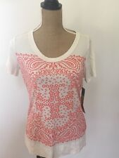 Tory Burch Gienna Graphic Cotton Tee Shirt, Size XS    BRAND NEW