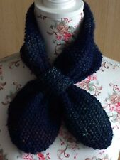 Hand Knitted Ascot Neck Warmer Scarf: Blue Marble, by KnittedNature