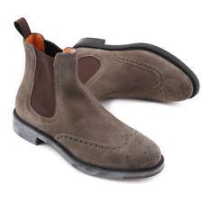NIB $895 SANTONI Taupe Suede Wingtip Chelsea Ankle Boots US 9 Shoes