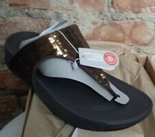 Fitflop ELECTRA Flip Flops Bronze Sequin Womens Sandals Size 7 8 Or 9 NIB