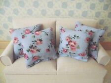 MINIATURE DOLL HOUSE  SOFA SCATTER CUSHION SET 12th SCALE BLUE FLORAL