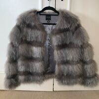 NEW LOOK SOLD OUT GREY PELTED FAUX FUR JACKET COAT SIZE 6, WOULD FIT 8/10