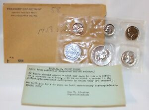 1958 US Mint Silver Proof Set 1c-50c In Original Envelope w/ Card 3 Silver Coins
