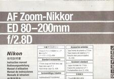 Nikon Af Zoom-Nikkor/F/2.8 ed 80-200mm Lente Istruzioni Manuale -nikon 35mm