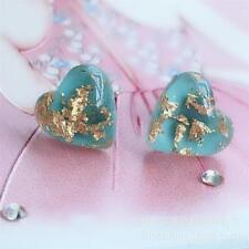 2g Antique 925 Sterling Silver Natural GEMSTONE Turquoise Heart Stud Earrings