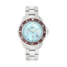 Men 48mm Turquoise Stainless Steel Analogue Alaska Watch Luminous Dials and Hand