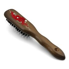 "Boar Bristle Hair Brush HBMB-15.3 created with Swarovski@ Crystals ""Breeze Red"""