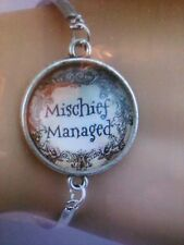 "Harry Potter Inspired ""Mischief Managed"" Glass Cabochon Bracelet"