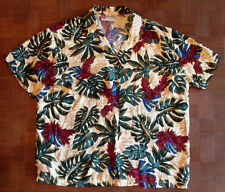 Wonderful monstera leaf red ginger Hawaiian-made shirt LARGE