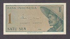 1964 1 ONE SATU SEN INDONESIA CURRENCY UNC BANKNOTE NOTE MONEY BANK BILL CASH CU