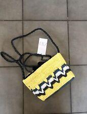 Zara Yellow Natural Wowen Mini Tote Bag Bnwt