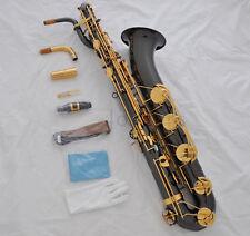 Professional Black Nickel Eb Baritone Saxophone Sax Abalone shell Low A key