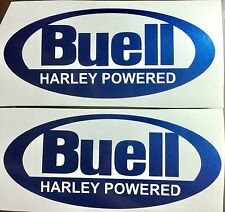 Buell Oval Decals. Metallic Blue. Set of two.