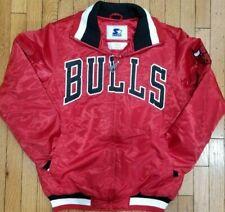 Authentic Red Chicago Bulls Starter Brand NBA Tough Seasons Satin Zip Up Jacket