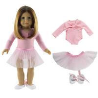18inch Doll Skinny Ballet Dance Skirt Dress Shoes for AG American Doll Dolls