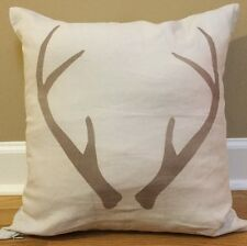 "NEW West Elm Winter Icon ANTLERS 18"" Linen Pillow Cover + Insert GRAY Buck Deer"