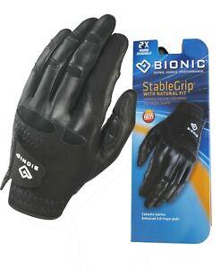 Bionic Golf Glove - StableGrip - Mens Left Hand - Black - Leather - Large