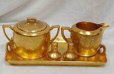 W A Picard Hand Painted China Gold Sugar / Creamer / Salt / pepper Set